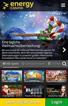 Die mobile Energy Casino Webseite