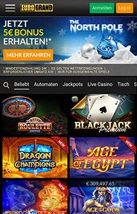 Ein Screenshot der mobilen Eurogrand Casino Webseite