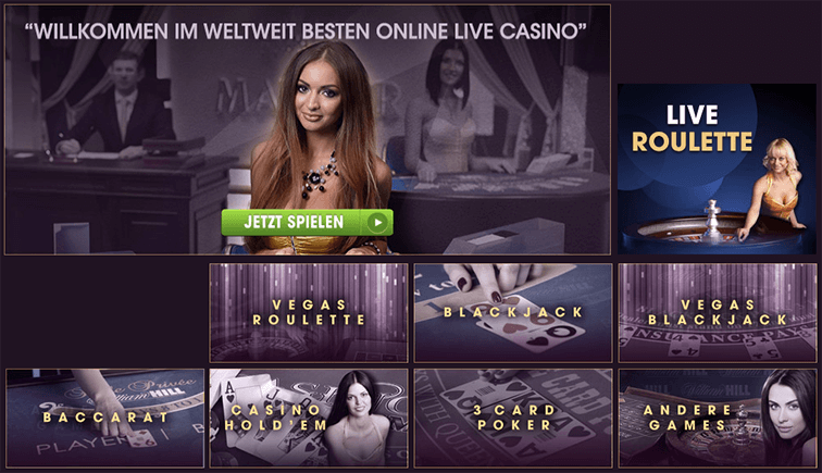 Eine Selektion der Live Games, die es im William Hill Casino gibt