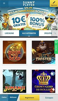 Die mobile Webseite des Sunnyplayer Casinos