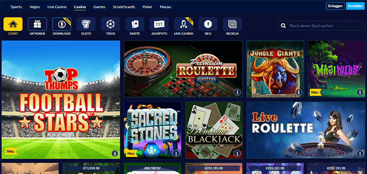 Die William Hill Casino Webseite