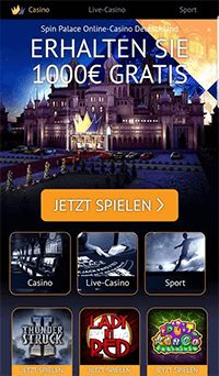 Die mobile Spin Palace Casino Webseite