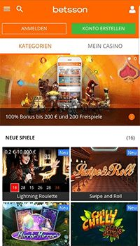 Mobile Webseite des Betsson Casinos