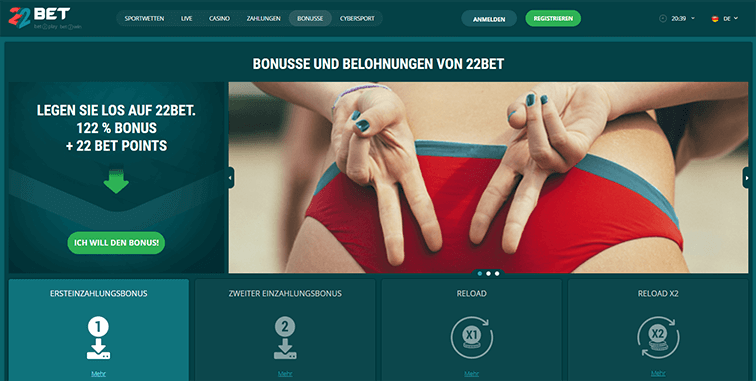 Das 22Bet Casino Bonusangebot