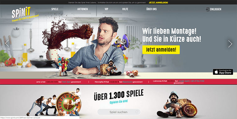 Bild der Spinit Casino Plattform
