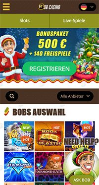 Mobile Bob Casino Webseite