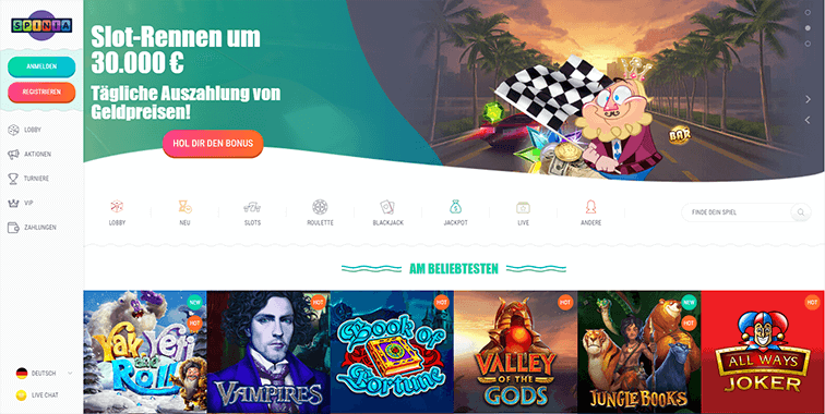 Screenshot der Spina Casino Plattform